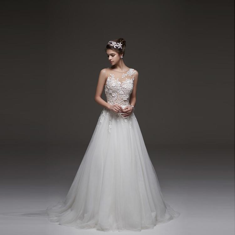 Cheap Simple Beach Wedding Gowns A Line Applique Chiffon Dress Bride