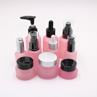 manufacturers wholesale whole set stock luxury cosmetic packaging serum pink glass dropper bottle