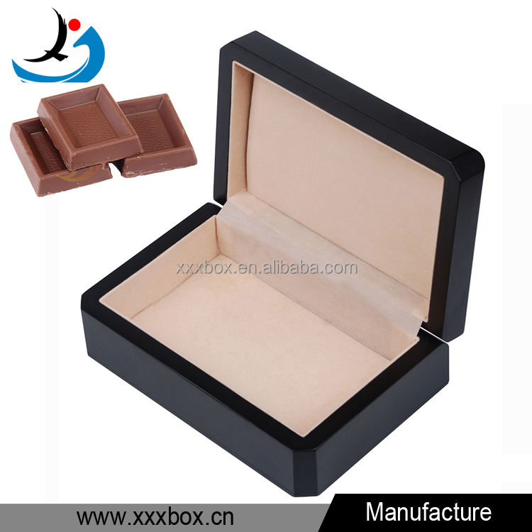 Black matt lacquer wood chocolate gift boxes for sale