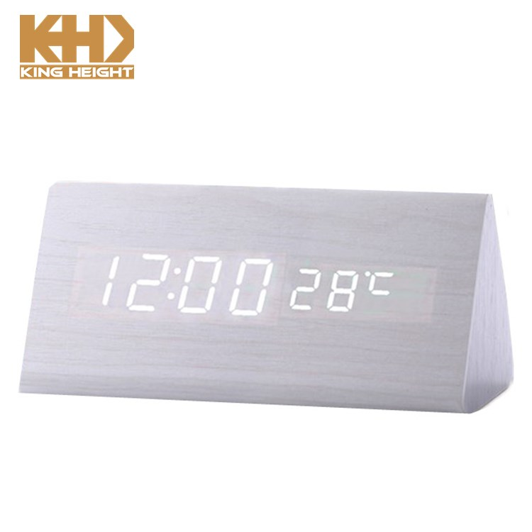 491202bacfa3 KH-WC007 Modern Exquisite Wood Big Numbers Digital LED Calendar Thermometer  Voice Alarm Desk Wooden