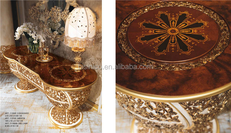 Luxury Italian Design Style Brass And Wood Dining Room Furniture/Baroque  Palace Style Marquetry 6