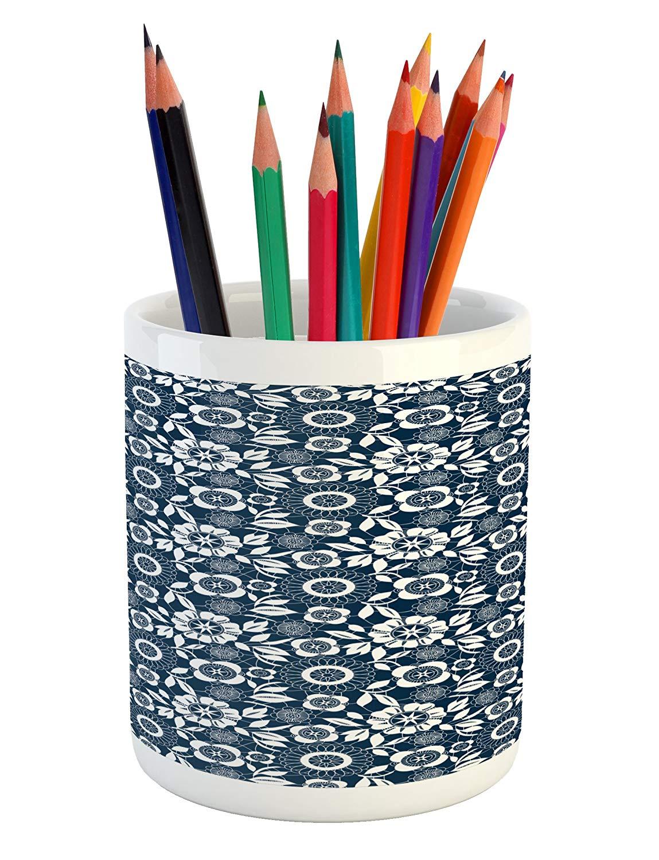 Lunarable Blue Floral Pencil Pen Holder, Ornamental White Flowers on Dark Background Feminine Victorian Motifs, Printed Ceramic Pencil Pen Holder for Desk Office Accessory, Dark Blue and White
