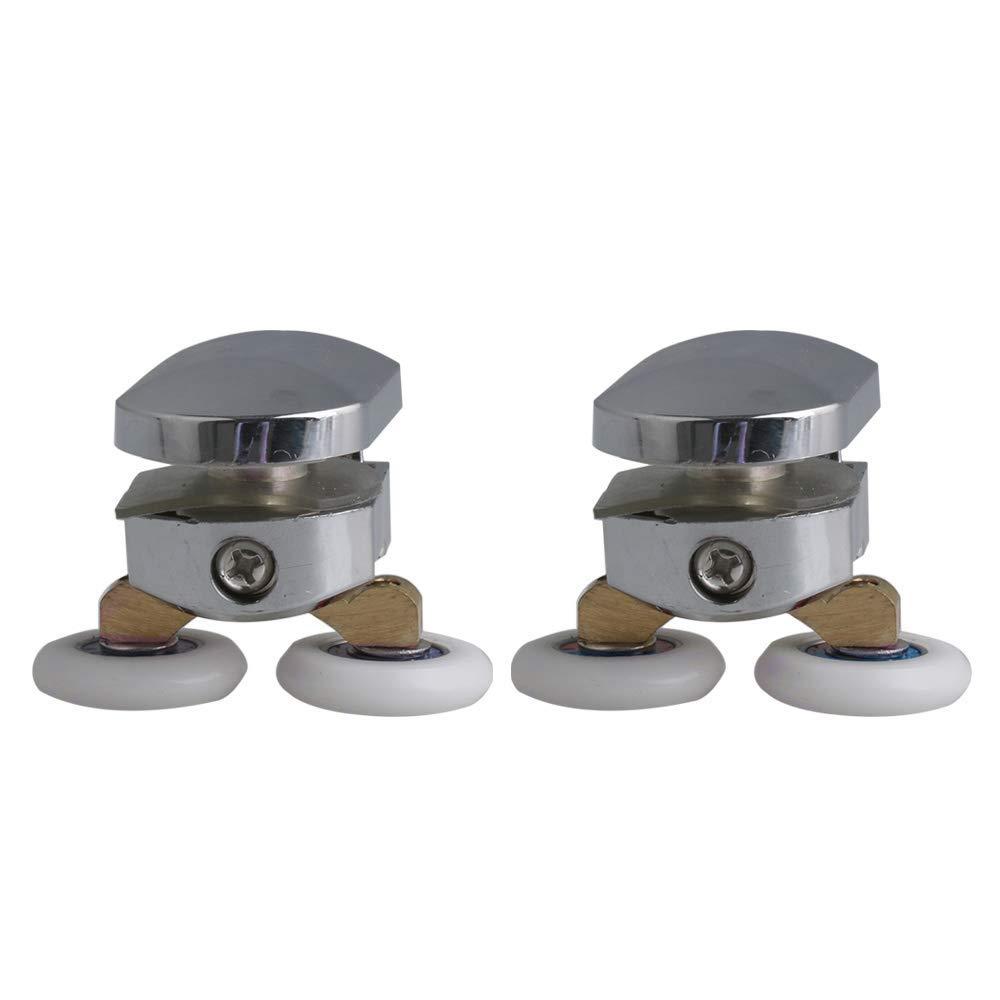 Yibuy 2x Zinc Alloy Adjustable Upper Roller Shower Door Twin Wheels Rollers Runners