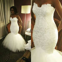 2018 Robe de mariage Vestido de noiva New African Mermaid Lace Long Tail White Bridal Wedding Dresses MW1059