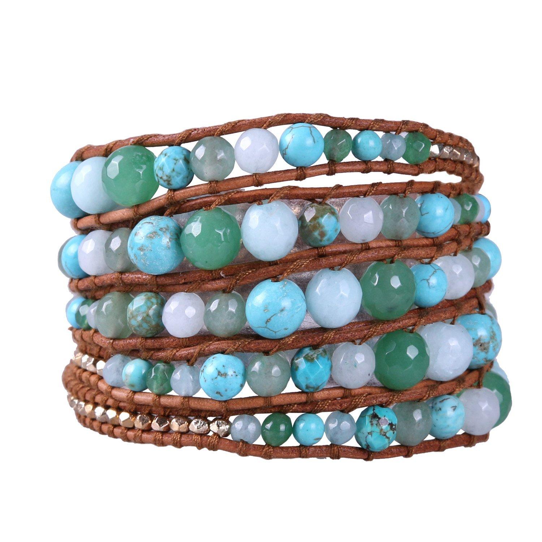 KELITCH Turquoise Jade Stones Mixed Wrap Bracelets Genuine Leather 5 Layered New Strand Jewelry