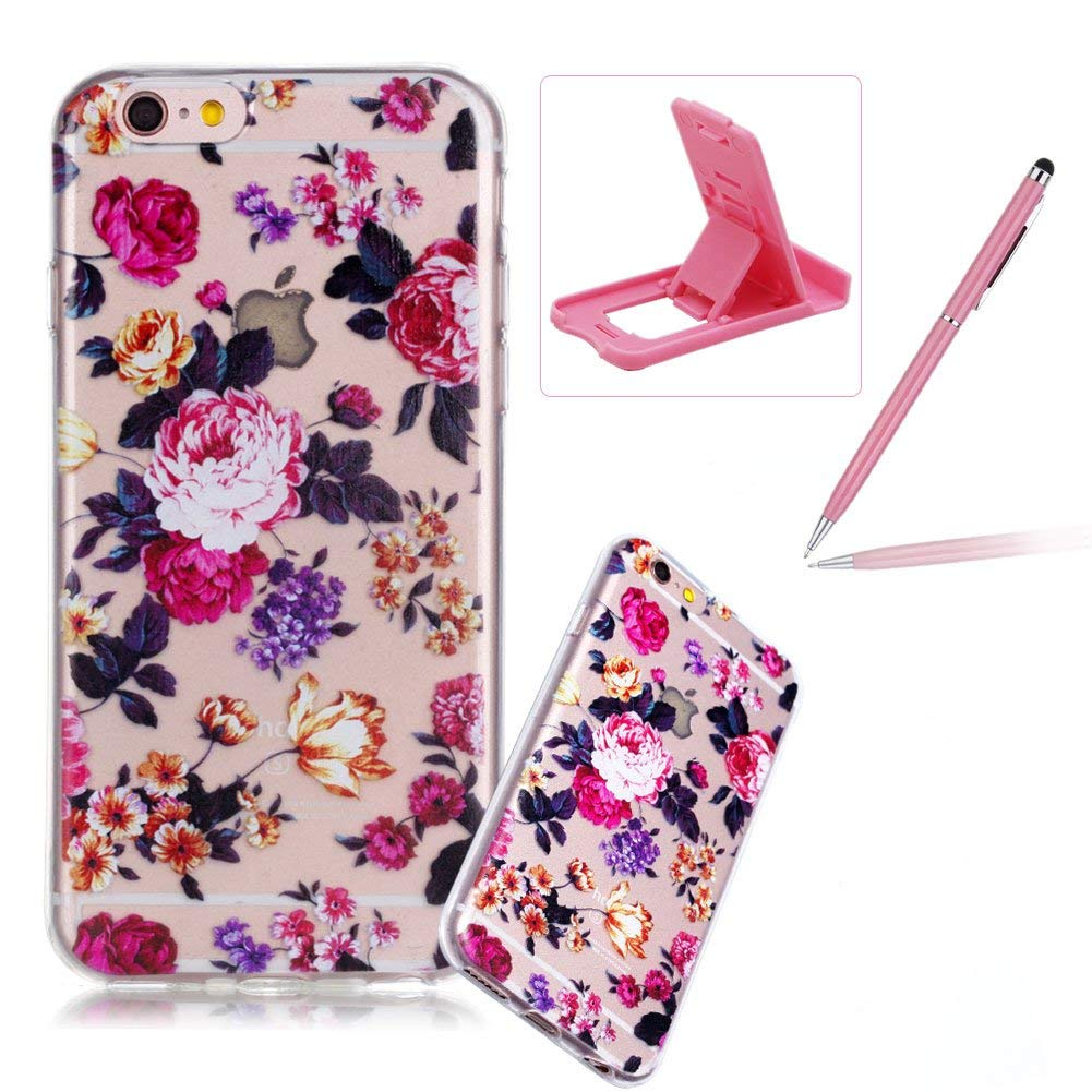 Clear TPU Case for iPhone 6S,Soft Soft Gel Bumper Cover for iPhone 6,Herzzer Ultra Slim Stylish [Pretty Flower Pattern] Shock-Absorbing Anti-Scratch Flexible Rubber Silicone Transparent Case