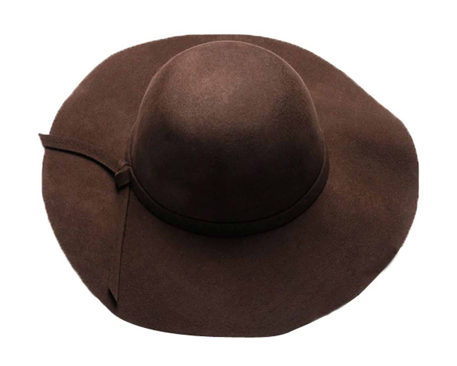 3a3f4e1c458 Get Quotations · The Trendy Women Felt Wide Brim Fedora Top Hat  Coffee