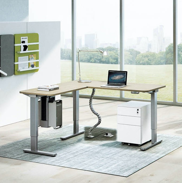 Three-stage lift table sit stand desk adjustable electric two motors height table desk frame leg L shape table