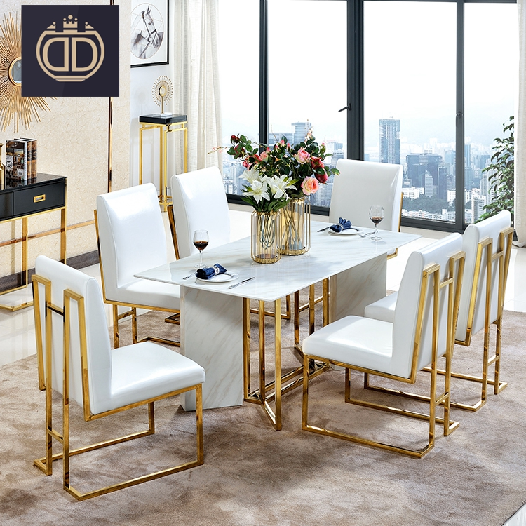 Stainless Steel Marble Dining Table Luxury Italian Set 6 Chairs Modern Round Corner Top