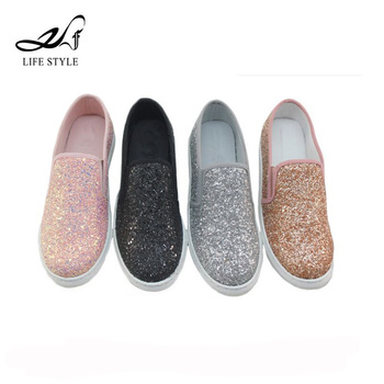 Zapatos Deportivos Sin Cordones Para Mujer Casual Glitter Flat Ladies Comfort Loafer Shoes Buy Loafer Shoes,Ladies Loafers,Zapatos Deportivos Sin