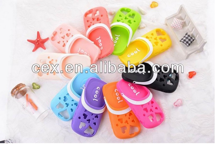 New 3D cute Soft Silicone Slippers back Cover skin Case for Apple iPhone 4 4S