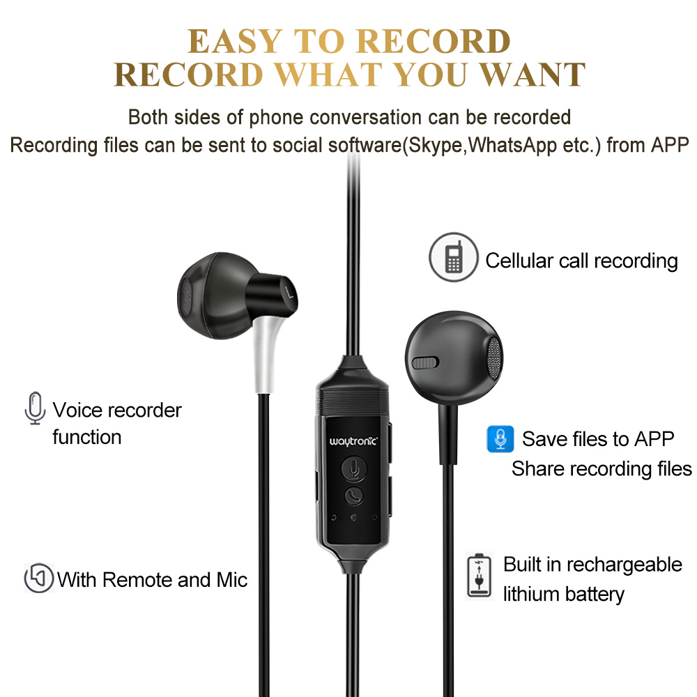 Forensics Business Conference Phone Recording Equipment Bluetooth Call Recording Headset fori Phone8X Apple 6 / 7Plus
