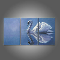 Abstract Swans Oil Painting On Canvas Hand Painted Beautiful Animals Pictures On Canvas High Quality Swans Painting For Wall