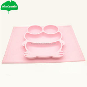 HeaLeanLo BPA free food grade silicone mate food mat baby placemat toddler plates that stick to table