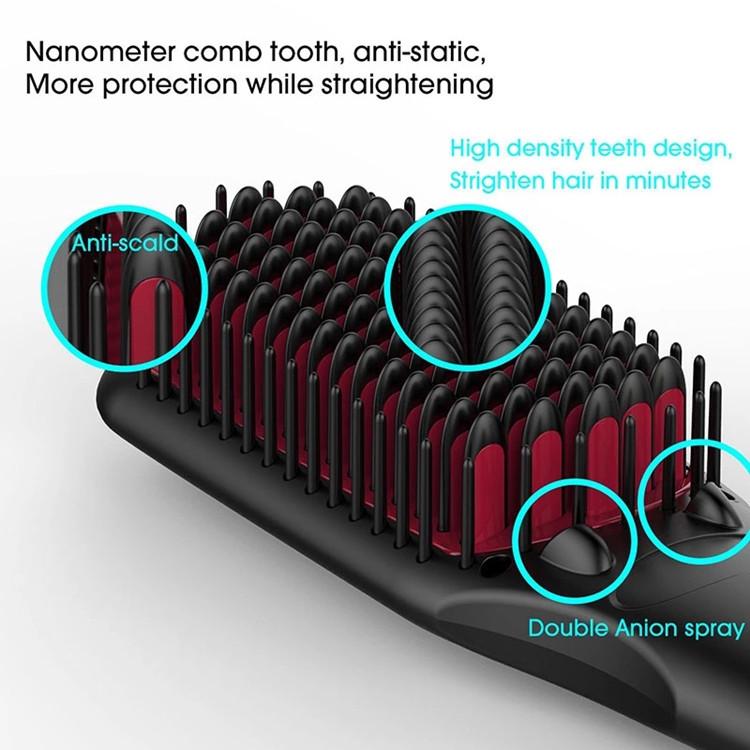 High quality Fast Hair Straightener Brush Ceramic Iron electric Hair straightening brush with LCD screen