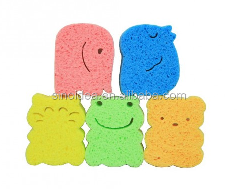 Cute Animal Shaped Baby Cellulose Sponge Bath Sponge For