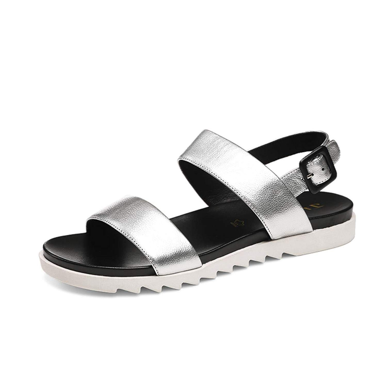 3efdaccd2 Get Quotations · Flat Sandals Silver Women Casual Comfortable Soft Leather  Buckle Back Strap Sandalias New Summer Russian Size