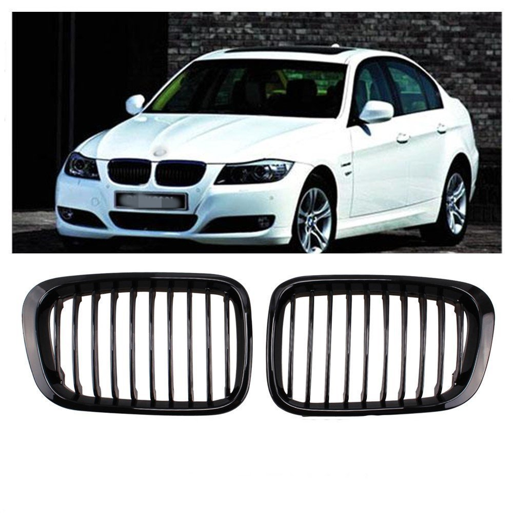 Opar Front Matte Black Kidney Grille Grill for BMW 1998-2001 E46 320i 323i 325i 328i 330i (4 Door) - Pair