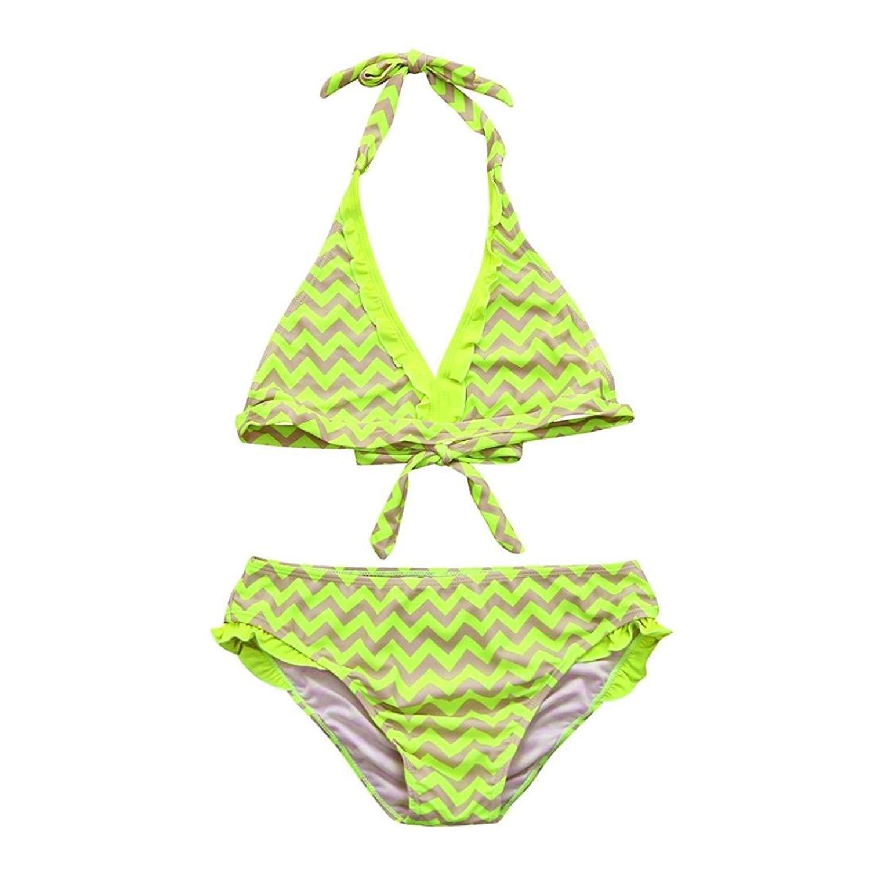 6565bcf084 Get Quotations · Nacome Toddler Girl Yellow Stripe Bikini Trunks Sleeve  Bandage Swimsuits Beachwear