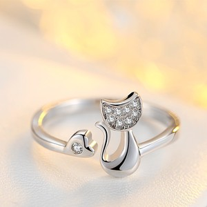 High Quality 925 Sterling Silver Cubic Zirconia Inlaid Crystal Cute Animal Cat Ring for Women/Girls Beautiful Jewelry