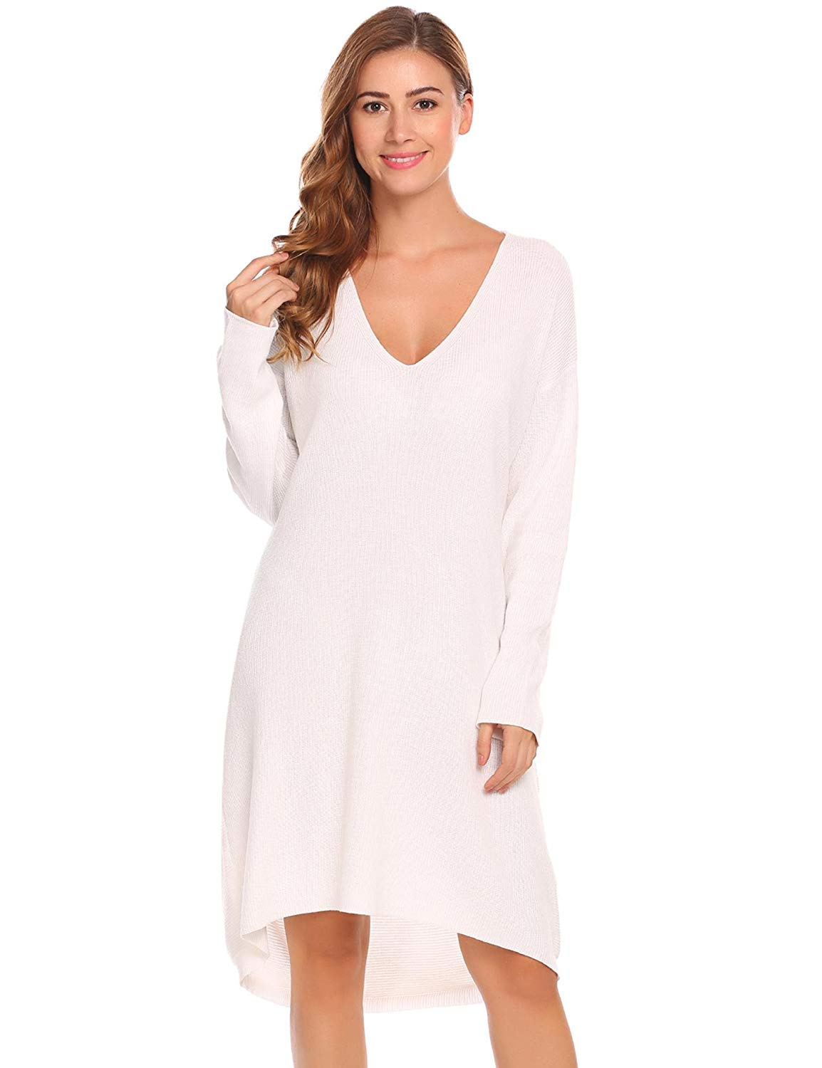 Get Quotations · ELESOL Women Casual Loose V Neck Batwing Sleeve High Low  Hem Knit Sweater Dress 6ede3399a