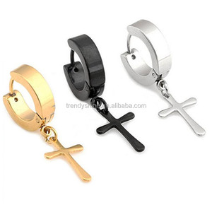 Fashion alibaba medical stainless steel cross earrings for men