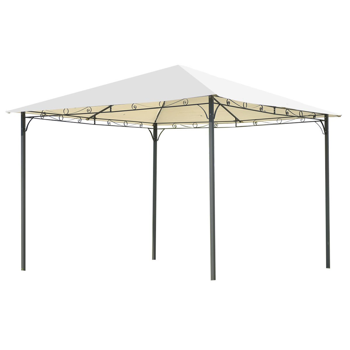 AK Energy Beige Outdoor 10'x10' Square Gazebo Canopy Tent Shelter Awning Garden Patio Open Space