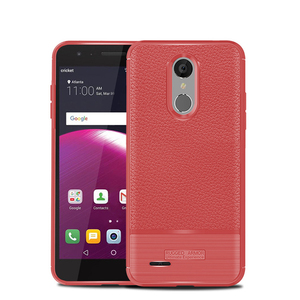 Luxury litchi pu texture back cover for lg fortune 2 case soft tpu phone shell