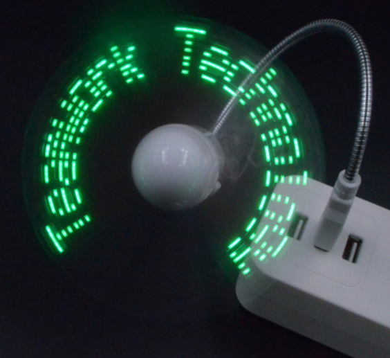 Company Patented USB Flexible Program Led Message Mini Fan with DIY Any Words Air Cooling Stand Usb Led Light Fan