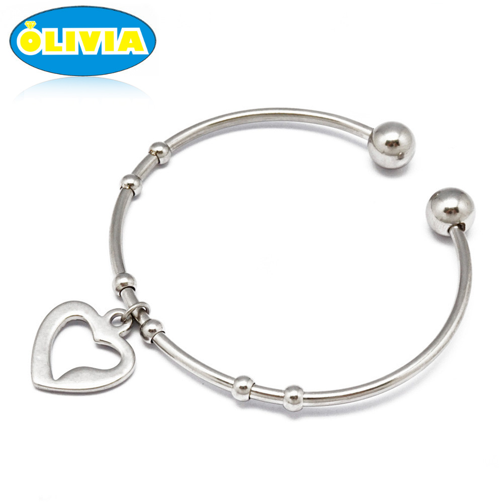 Olivia New arrival stainless steel heart charms modern bracelet bangles for ladies
