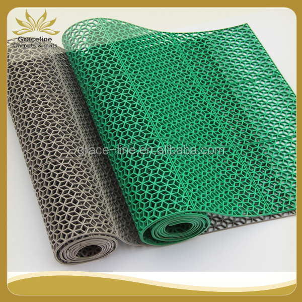 rhombus hollow out pvc floor mat to protect the floor