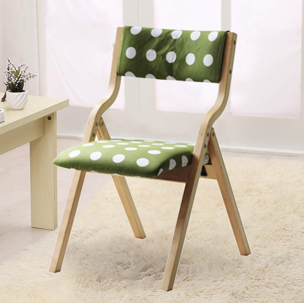 fold up chairs Cloth Dining Chair Modern Simple Back Chair Leisure Computer Chair Folding Home Solid Wood Chair can be washable Folding Chairs (Color : H)