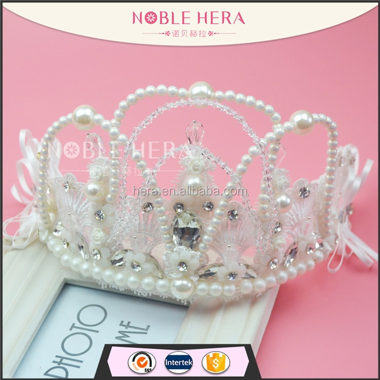 498C New arrival Stock Elegant Pearl bead/Rhinestone Princess <strong>Crown</strong> for Girls Tiara <strong>Crown</strong>