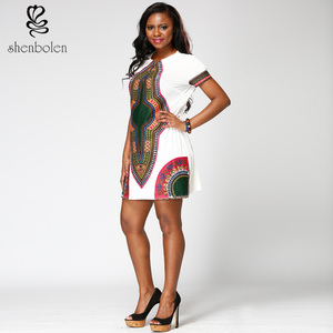 2019 hot sale African Dashiki Clothing White O Neck Metal Zipper Short Sleeve Wax Print Casual Women Dress
