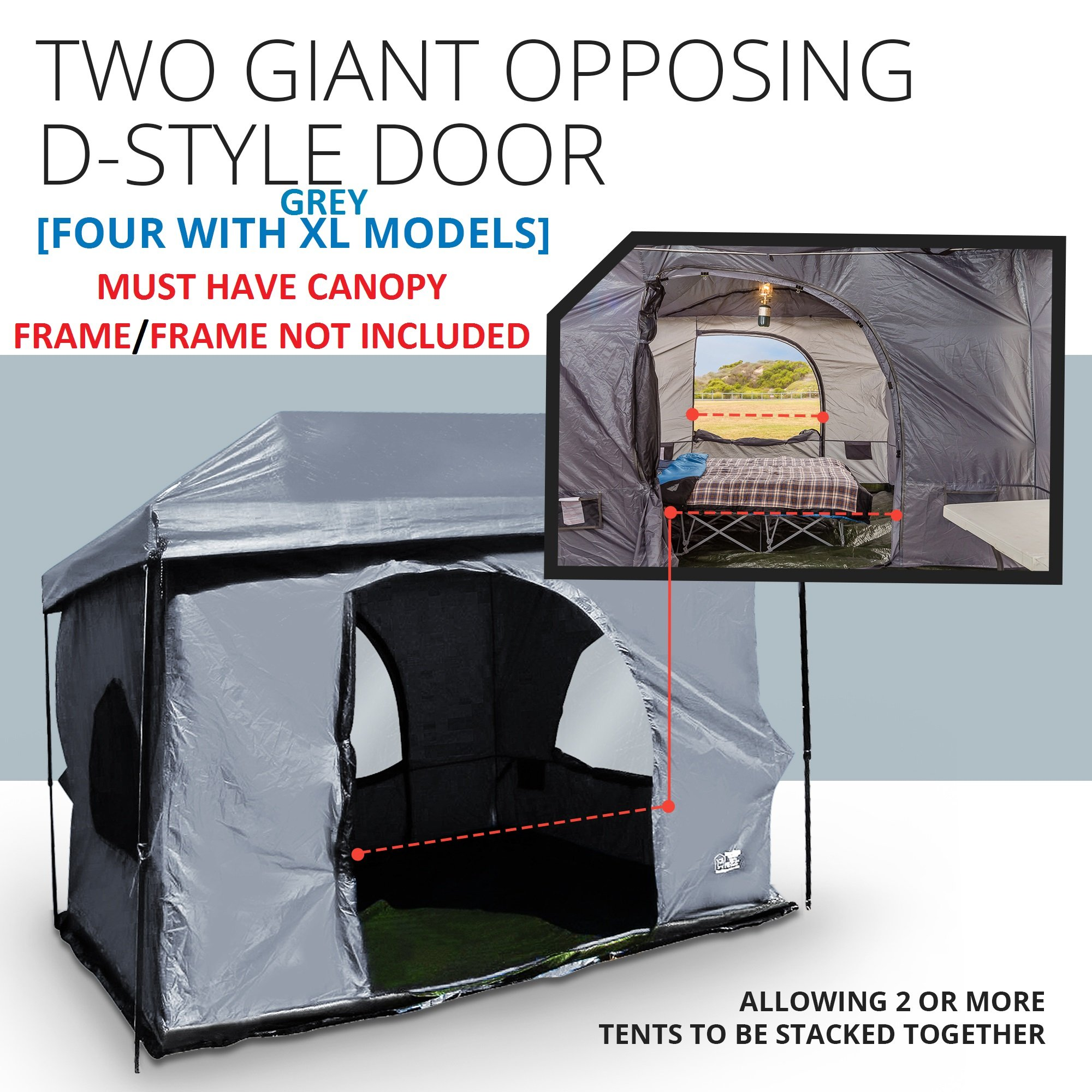 Standing Room Family Cabin Tent 8.5 FEET OF HEAD ROOM 2 or 4 Big Screen Doors Fast Easy Set Up, Full waterproof Fabric Ceiling (NOT LEAKY MESH SCREEN),FULL TUB STYLE Floor CANOPY FRAME NOT INCLUDED!