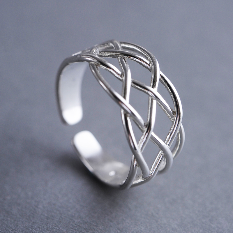 online shop chinese supplier sterling silver net shaped full finger adjustable ring polish face oem jewelry 24k gold jewelry