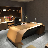 A-01B Luxury veneer leather ceo furniture office desk with side return design