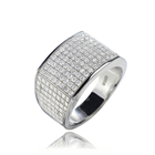 Iced out platinum 925 Italian men ring gold plated cz stone
