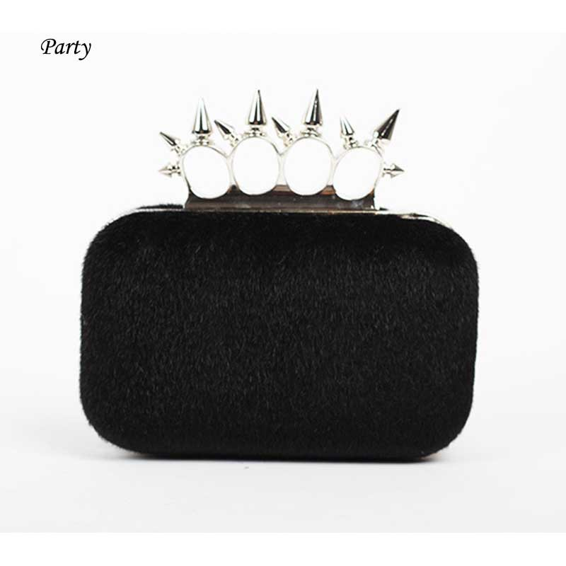 Luxury fur cony hair day clutch bag lady women's shiny ring studded bag Knuckle rivet leather box clutch mini party bag tote