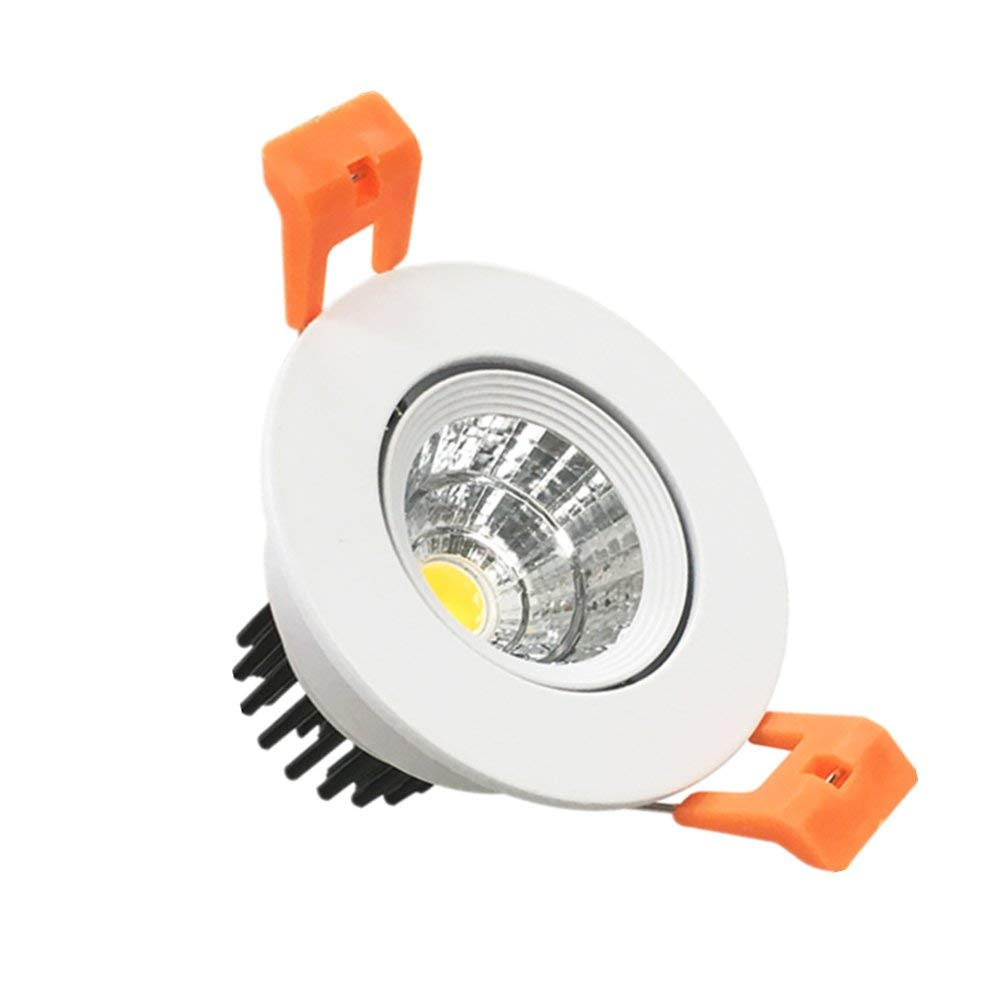 LightingWill LED Downlight 3W Warm White 3000K-3500K CRI80 Dimmable COB Directional Retrofit Kit 220LM Cut-Out 2in(51mm) Dimmable 60 Beam Angle 25W Halogen Bulbs Equivalent 1 Pack