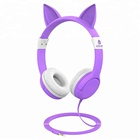 1000iClever Kids Headphones, Cat-inspired Wired On-Ear Headsets with 85dB Volume Limited, Food Grade Silicone Material Purple