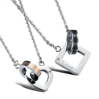 Women Men Couple Stainless Steel Love Rubik's Cube Necklace Pendant Lover's Jewelry Our Love Will Last Forever