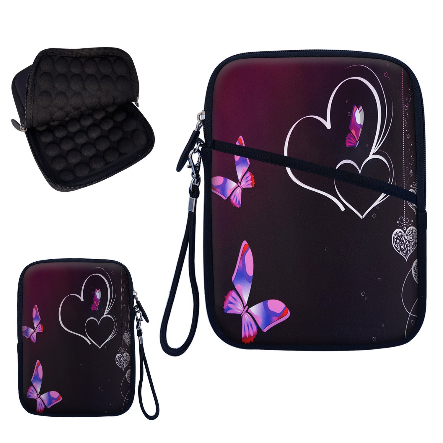 """Neoprene Super Padded Bubble Sleeve Case Cover with Extra Pocket for Accessories & Removable Carrying Handle Fits Apple iPad Mini / Amazon Kindle Fire HD / Google Nexus 7 / Samsung Galaxy / Asus / Acer / Archos and Similar Size 7"""" Tablet - Heart Butterfly Design"""