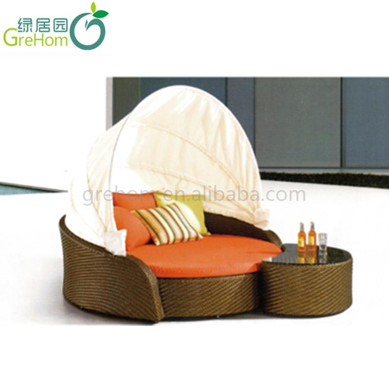 Rond Loungebed Buiten.Nieuw Design Rotan Ronde Tuin Lounge Bed Met Overkapping