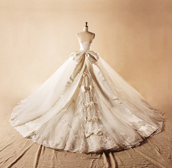 Cathedral Length Train Wedding Gowns: 2015 Wedding Dresses Ball Gown Custom Made Floor Length