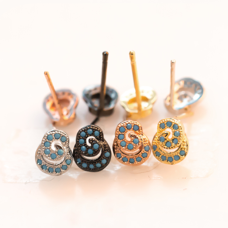 Hot Selling Fashion Zircon Snail Earrings Women Jewelry Wholesale For Party Gifts