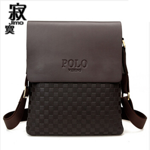 2015 Fashion Polo Videng Brand Men's Messenger Bags Men Genuine PU Leather Shoulder Bag Plaid Checkered Design Male Handbag VP-4
