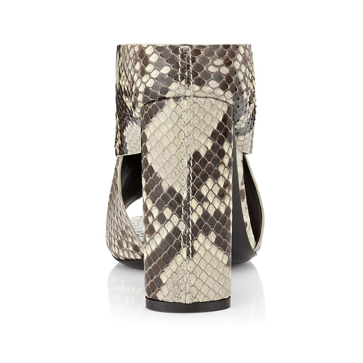 slippers women heel multicolour block skin leather shoes python OEM 8zZwR