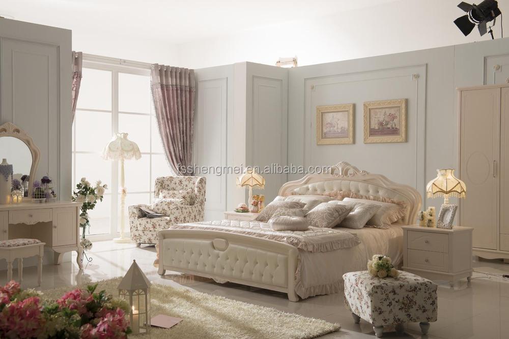 white color antique royal furniture bedroom set