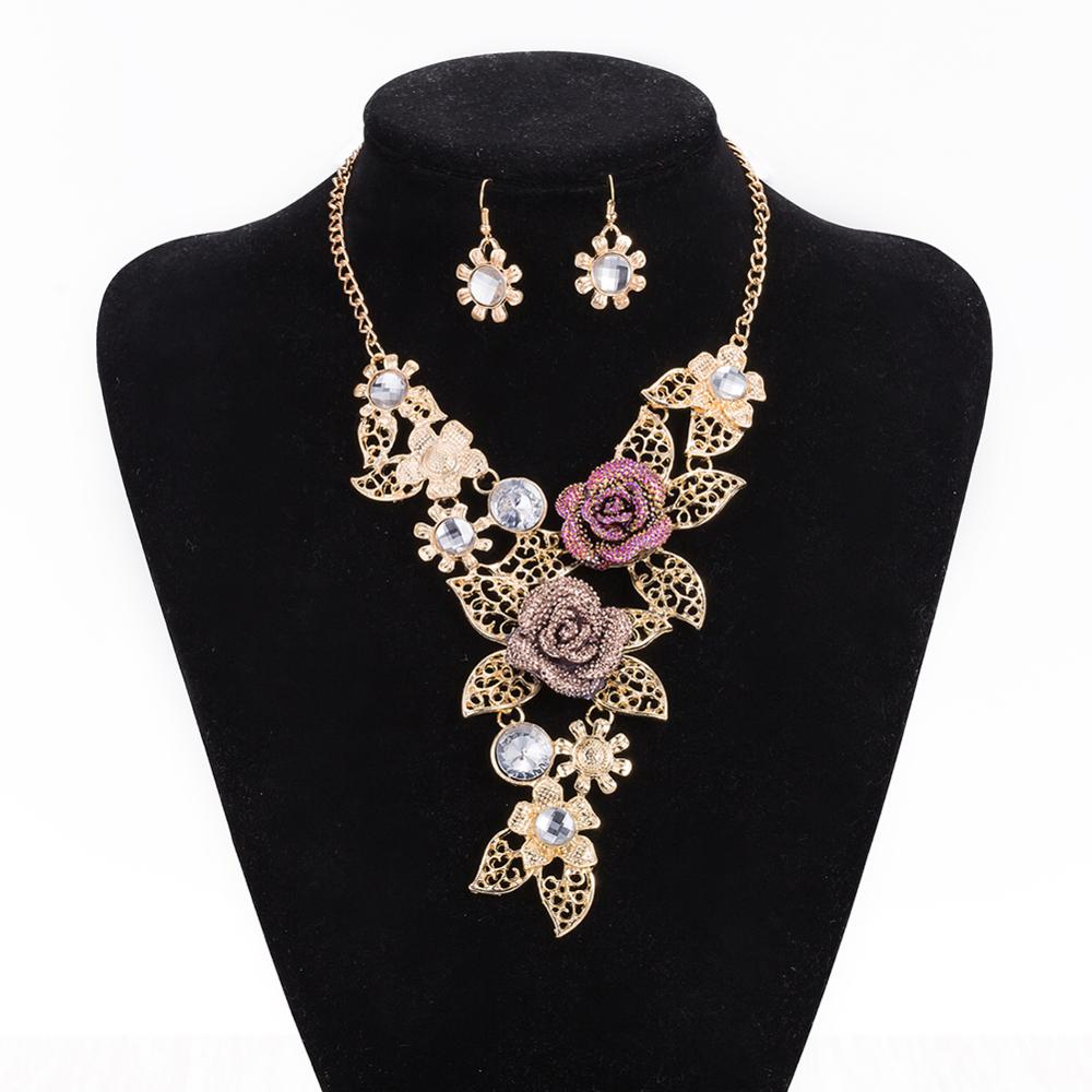 Ethnic Dubai Plated Rose Gold Classics Rose Chunky Hollow Crystal
